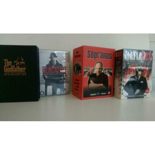4 x dvd box Sopranos , Blacklist , Godfather , Mafia box
